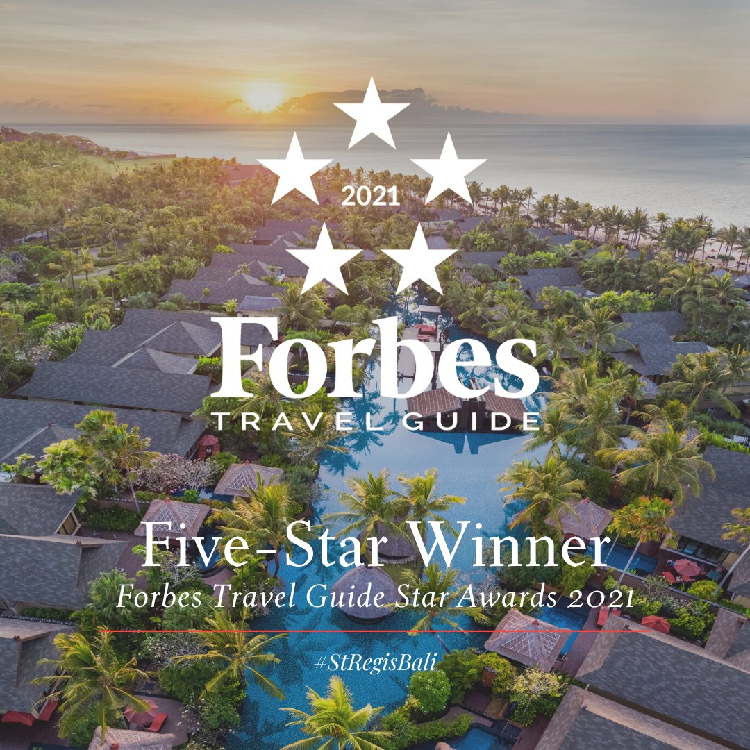 We're pleased to share that The St. Regis Bali Resort has been awarded Five-Star Winner by Forbes Travel Guide's 2021 Star Award. A recognition of our outstanding service by our dedicated team, combined with amazing resort facilities.  #StRegisBali #StRegis #FTGStarAwards https://t.co/1Asi0iG0dN