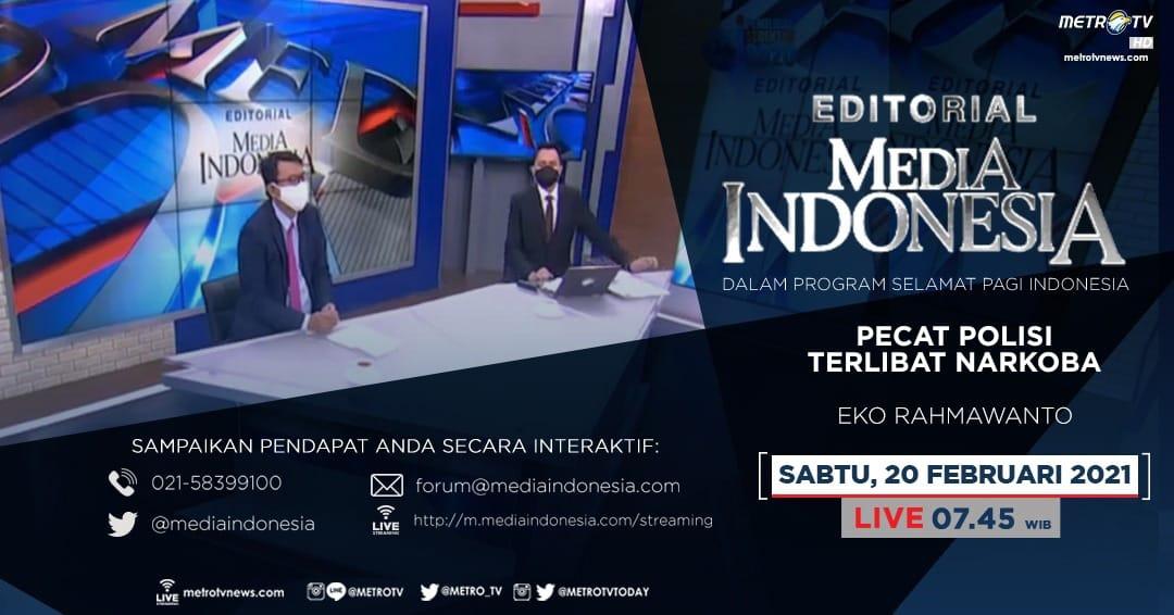 #EditorialMediaIndonesia hari Sabtu (20/2) LIVE pukul 07.45 WIB dalam program #SPIMetroTV akan membahas soal oknum aparat yang terlibat mengonsumsi narkoba, bersama pembedah Eko Rahmawanto. @mediaindonesia