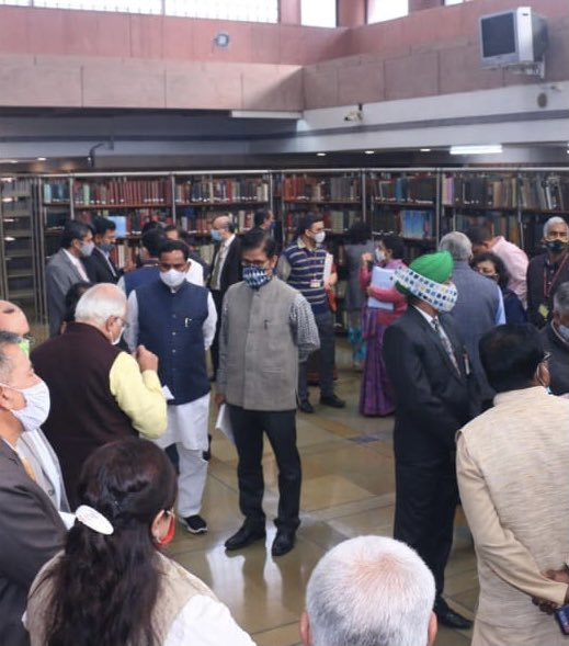 Today,Members of Parliamentary Standing Committee on Education,paid a formal Group Visit to Parliamentary Library- a treasure of 1.8 million books n 2000 reports on education! Govt.officials from various education departments who had briefed the Committee abt budget also joined!