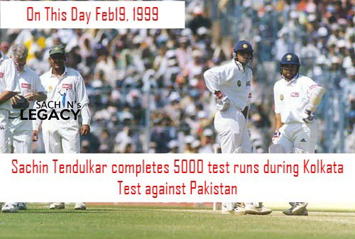 #OnThisDay in 1999 #SachinTendulkar completes 5000 test runs during #Kolkata test against #Pakistan   -A post from @sachin_rt pakistani fan page