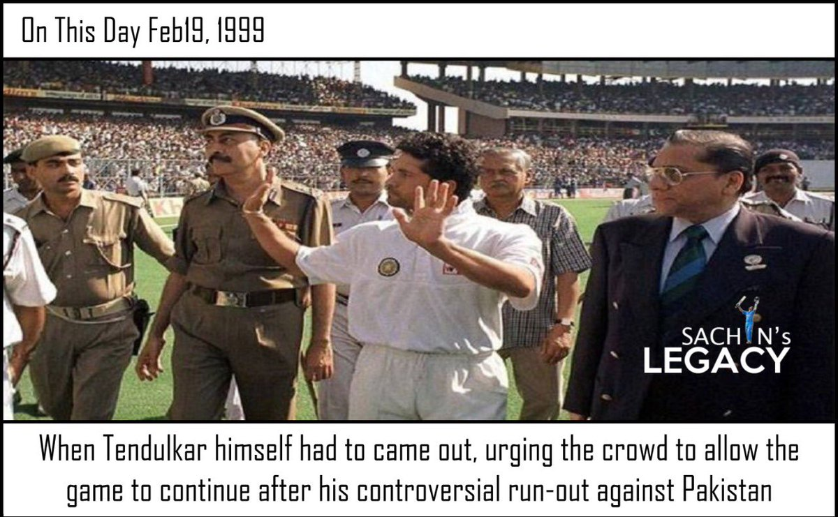 #OnThisDay in 1999 When #Tendulkar himself had to came out, urging the crowd to allow the game to continue after his controversial run out against #Pakistan in #Kolkata test   -A post from @sachin_rt pakistani fan page