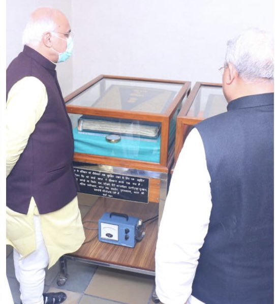 Had the privilege of seeing the original Handwritten Copy of the Constitution of India with fellow members of Parliamentary Standing Committee on Education, when we had a formal Group Visit to Sansadeeya Gyanpeeth! A memorable moment, indeed!