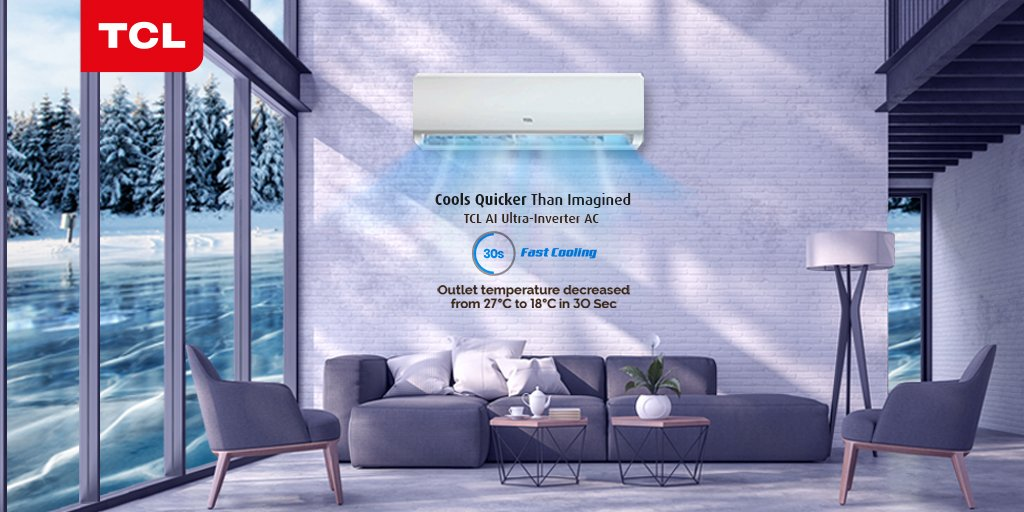 Get ultra-fast cooling with #TCL AI Ultra-Inverter AC which brings down the outlet unit temperature from 27 degrees to 18 degrees in just 30 seconds.  https://t.co/ad5AuIKeel https://t.co/yXT8uwkM0s