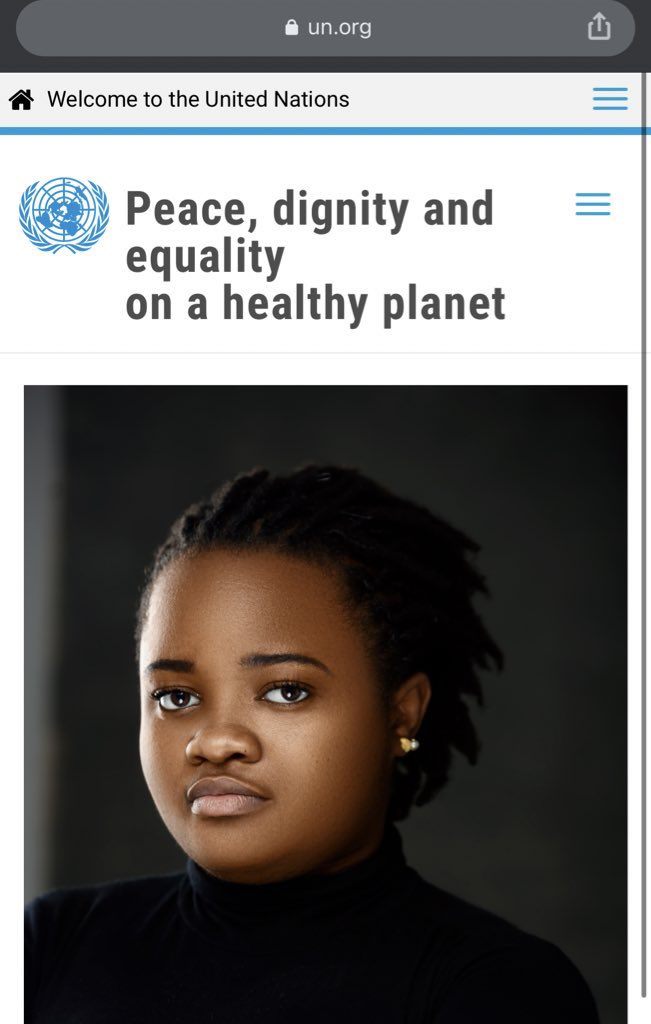 I woke up being a face on @UN for peace, dignity and equality on a healthy planet.   At a time when Nigerian youths are at their lowest, struggling to make their voices heard & respected, this is really warming.
