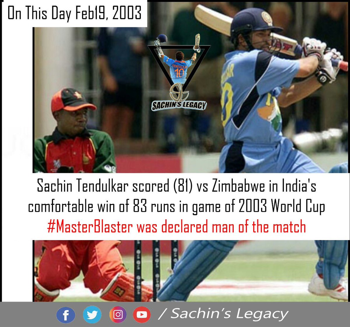 #OnThisDay in 2003 #WorldCup  #SachinTendulkar scored 81 against #Zimbabwe and #TeamIndia won the match by 83 runs #Master was declared man of the match  -A post from @sachin_rt pakistani fan page