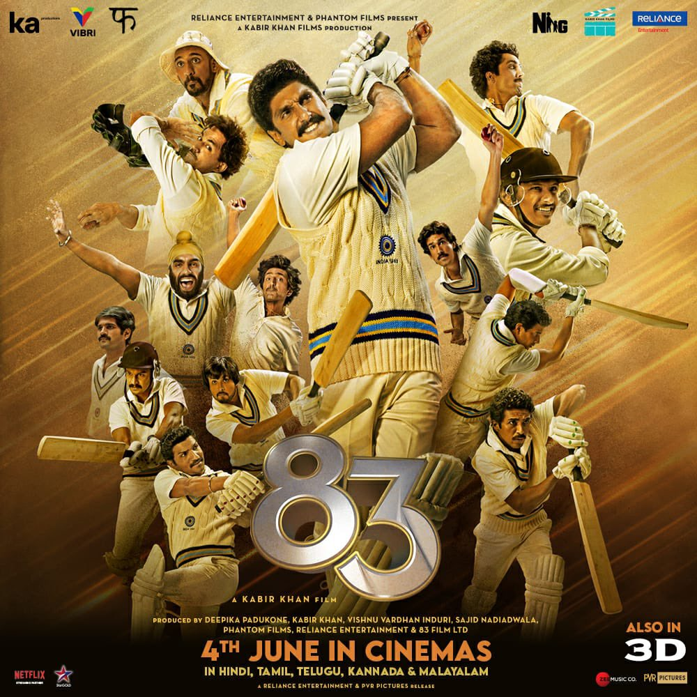 June 4th, 2021 !!!! 🏏🏆 in Hindi, Tamil, Telugu, Kannada and Malayalam.  See you in cinemas !!!  #ThisIs83 . @ikamalhaasan @iamnagarjuna @kabirkhankk @deepikapadukone @Shibasishsarkar #SajidNadiadwala @vishinduri