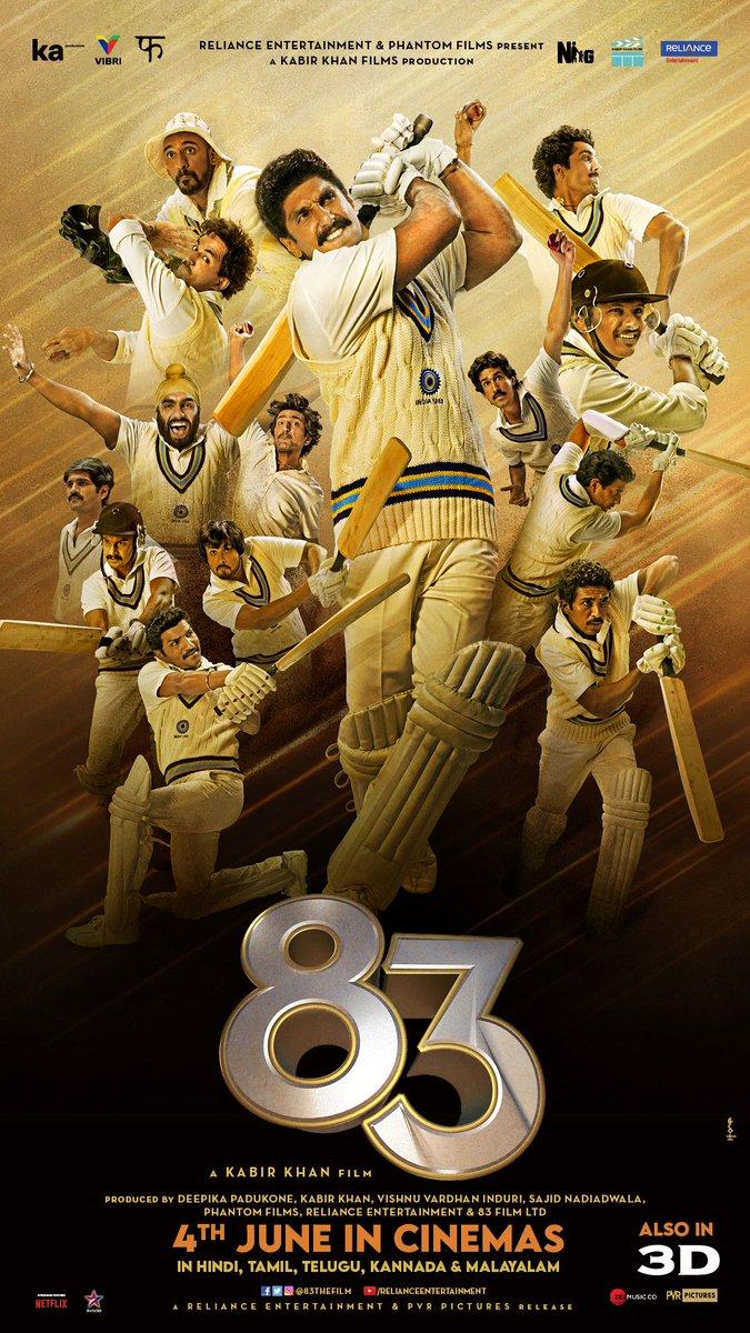 See you in Cinemas! 83 will hit the screens on June 4th, 2021, in Hindi, Tamil, Telugu, Kannada and Malayalam. #ThisIs83  @ikamalhaasan @iamnagarjuna @RanveerOfficial @kabirkhankk @deepikapadukone  #SajidNadiadwala @vishinduri @ipritamofficial #SupriyaYarlagadda