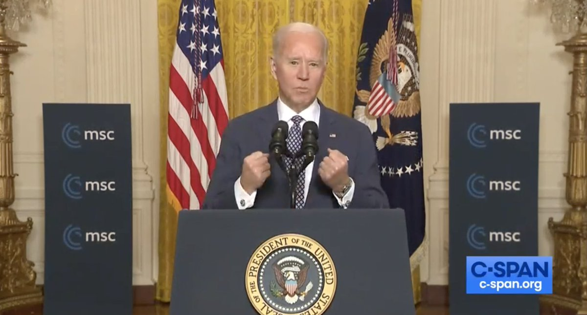 Biden at the Munich Security Confrnce touts NASAs Mars landing and highlights the future joint NASA x ESA effort to retrieve soil samples. If our unbound capacity to carry us to Mars and back dont tell us anything else, they tell us we can meet any challenge we face on Earth