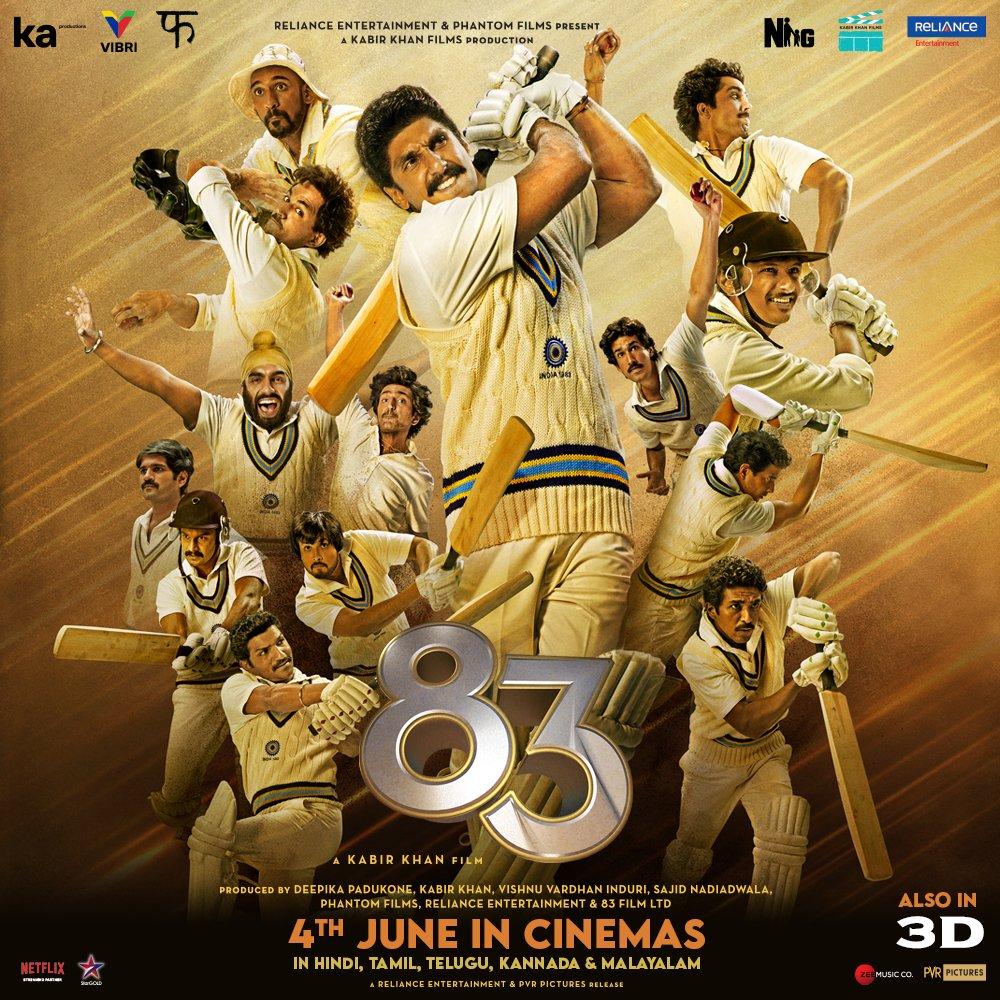 See you in Cinemas! 83 will hit the screens on June 4th, 2021, in Hindi, Tamil, Telugu, Kannada and Malayalam. #ThisIs83  @RanveerOfficial @kabirkhankk @deepikapadukone #SajidNadiadwala @ikamalhaasan @iamnagarjuna @Shibasishsarkar  @vishinduri @NGEMovies