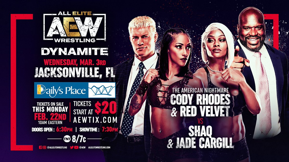 Tickets for the LIVE #AEWDynamite Wednesday, Mar 3rd go on-sale this Monday, Feb 22nd at 10am EST and start at $20 each, or grab a 3 Dynamite Season pass for just $15 per show! Visit  for full event details & safety guidelines.