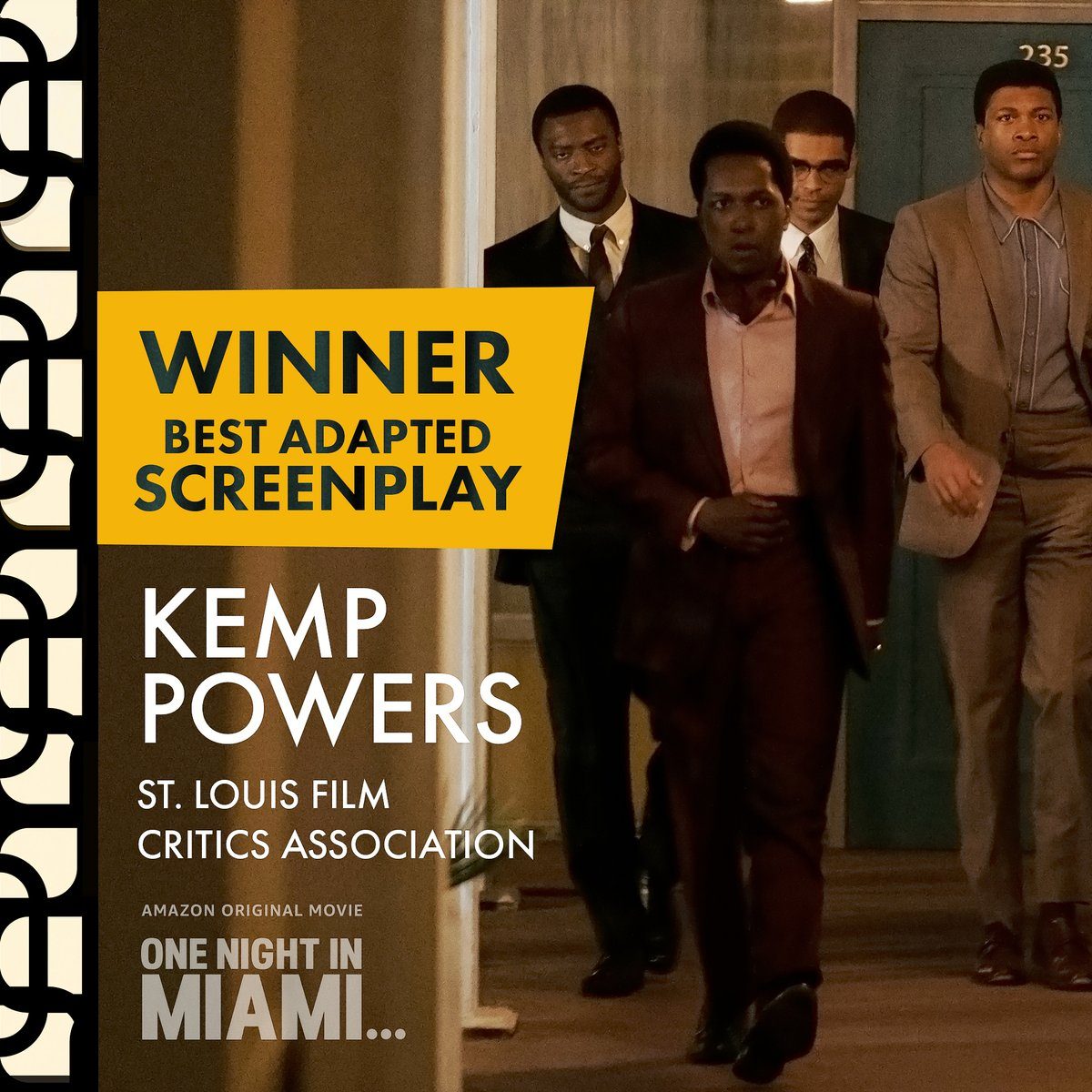 Woohoo!! Kemp Powers, the playwright/screenwriter behind #OneNightInMiami received the Best Adapted Screenplay Award from the St. Louis Film Critics Association! 🏅
