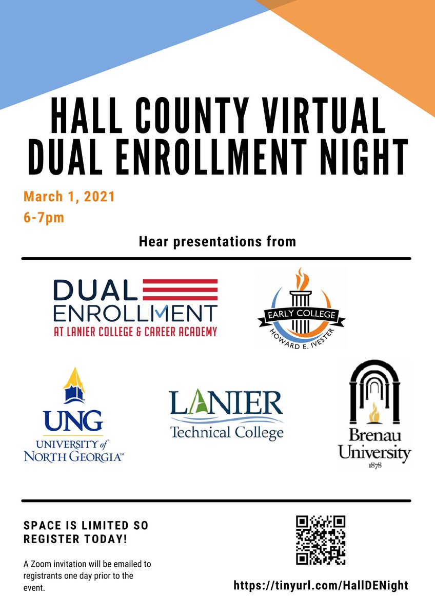 Don't forget about Hall County's upcoming Virtual Dual Enrollment Night!  This informative evening will take place via Zoom on March 1 and the meeting link will be sent to registrants this Friday.  Register today!!  @Hall_Schools https://t.co/yDhTj0gIg6