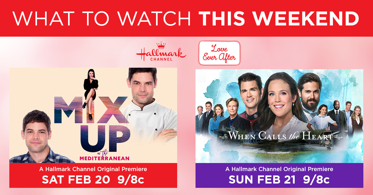 Need weekend plans? Spend it with Hallmark Channel! We have an all new movie & episode for you to watch with us. From blue skies & seas to the small town of Hope Valley, we cant wait for you to come along! #MixUpInTheMed TOMORROW at 9/8c #WhenCallsTheHeart Sunday at 9/8c