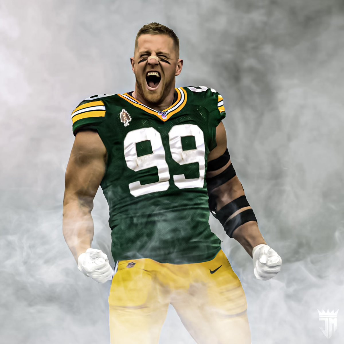 You guys asked for it, took me a minute but damn does he look good in green and gold. Come home @JJWatt. It's time. #BringJJHome #GoPackGo