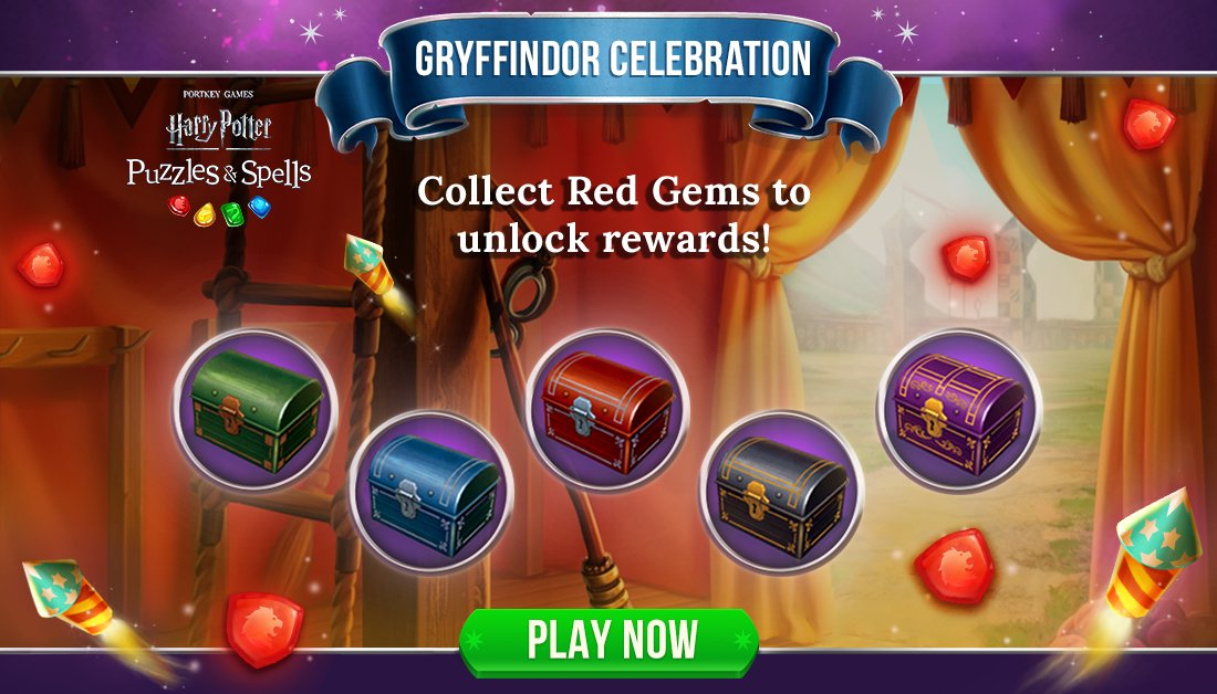 Collect Red Gems during #GryffindorCelebration to open as many chests as you can while the event is active!  Collect Red Gems NOW ➡️   #HarryPotterPuzzlesAndSpells #Match3 #Gryffindor