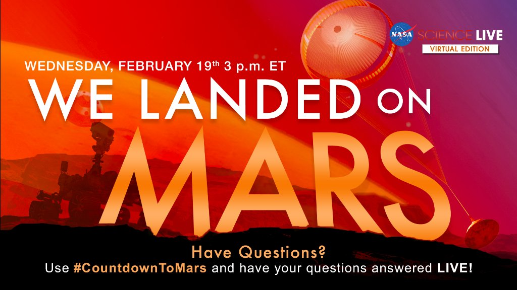 Join a live Q&A with members of the team that helped get the @NASAPersevere rover to Mars: youtu.be/kNVzxeYjE9Q Tag your questions with #CountdownToMars and theyll answer as many as they can during the 3:00pm ET live event today.