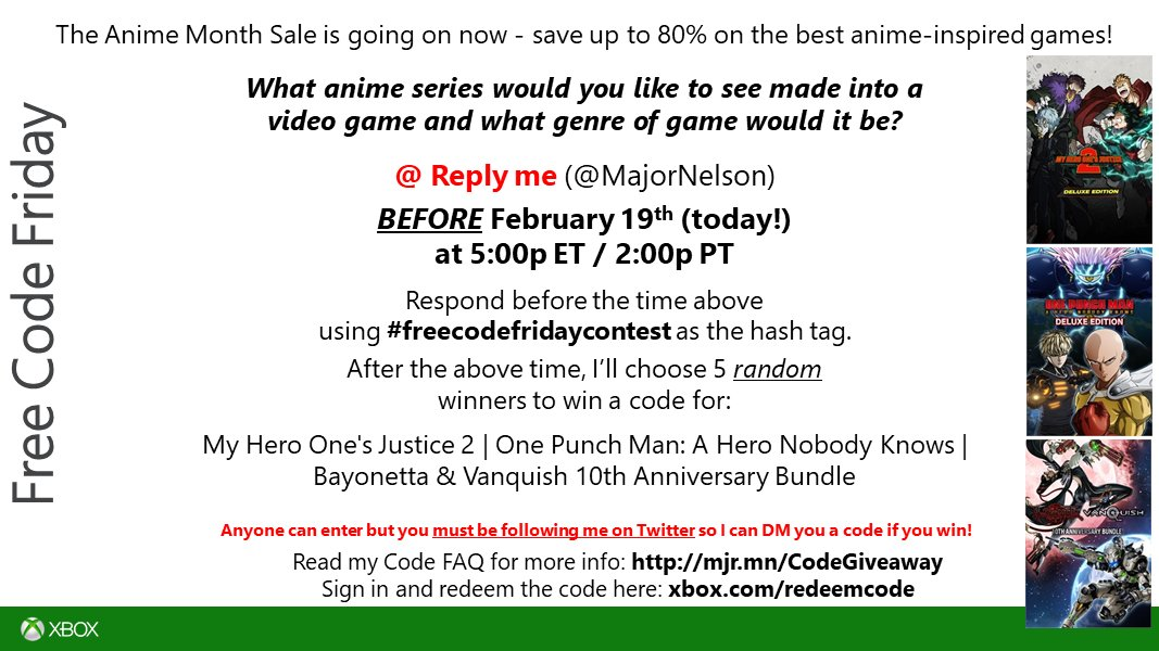 #freecodefridaycontest time. Read this and you could win codes for a collection of Anime titles on Xbox One/Xbox Series X S. Good luck!