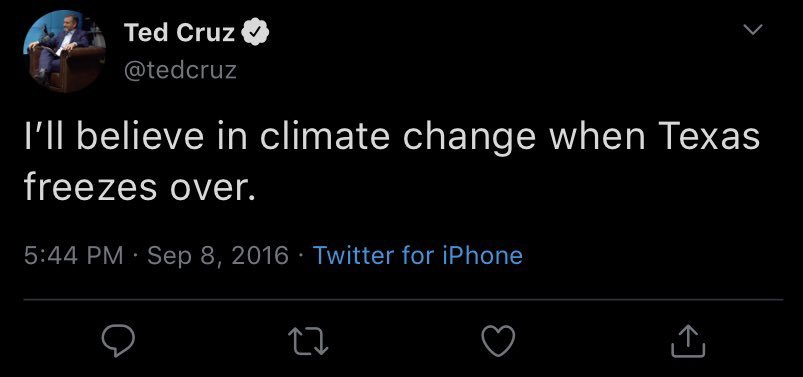 "FAKE: The viral screenshot of a Ted Cruz tweet saying ""I'll believe in climate change when Texas freezes over"" is doctored, per @snopes"