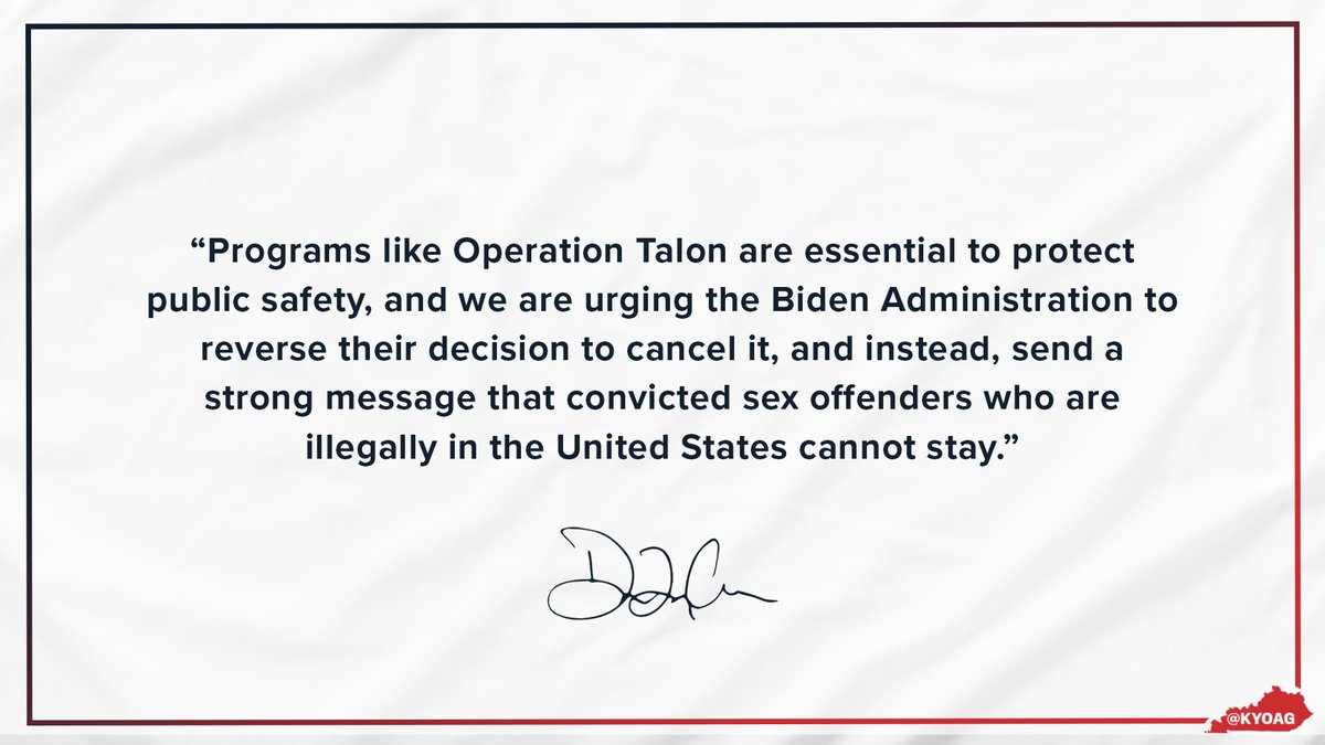 ICYMI: We joined a coalition of 18 attorneys general in urging the Biden administration to reverse their cancellation of Operation Talon.   Read more:
