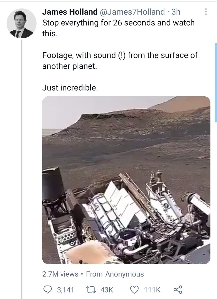 Heads up that this video is fake. 360 video from Curiosity rover and sounds *possibly* from seismic data from the InSight lander/or just manufactured. Feels real, but its not. Hopefully well hear/see the real thing very soon. 🎤