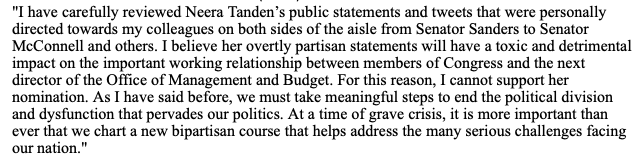 "JUST IN: Sen. Manchin says he opposes Neera Tanden's nomination to lead OMB:   ""I believe her overtly partisan statements will have a toxic and detrimental impact on the important working relationship between members of Congress and the next director of [OMB]."""