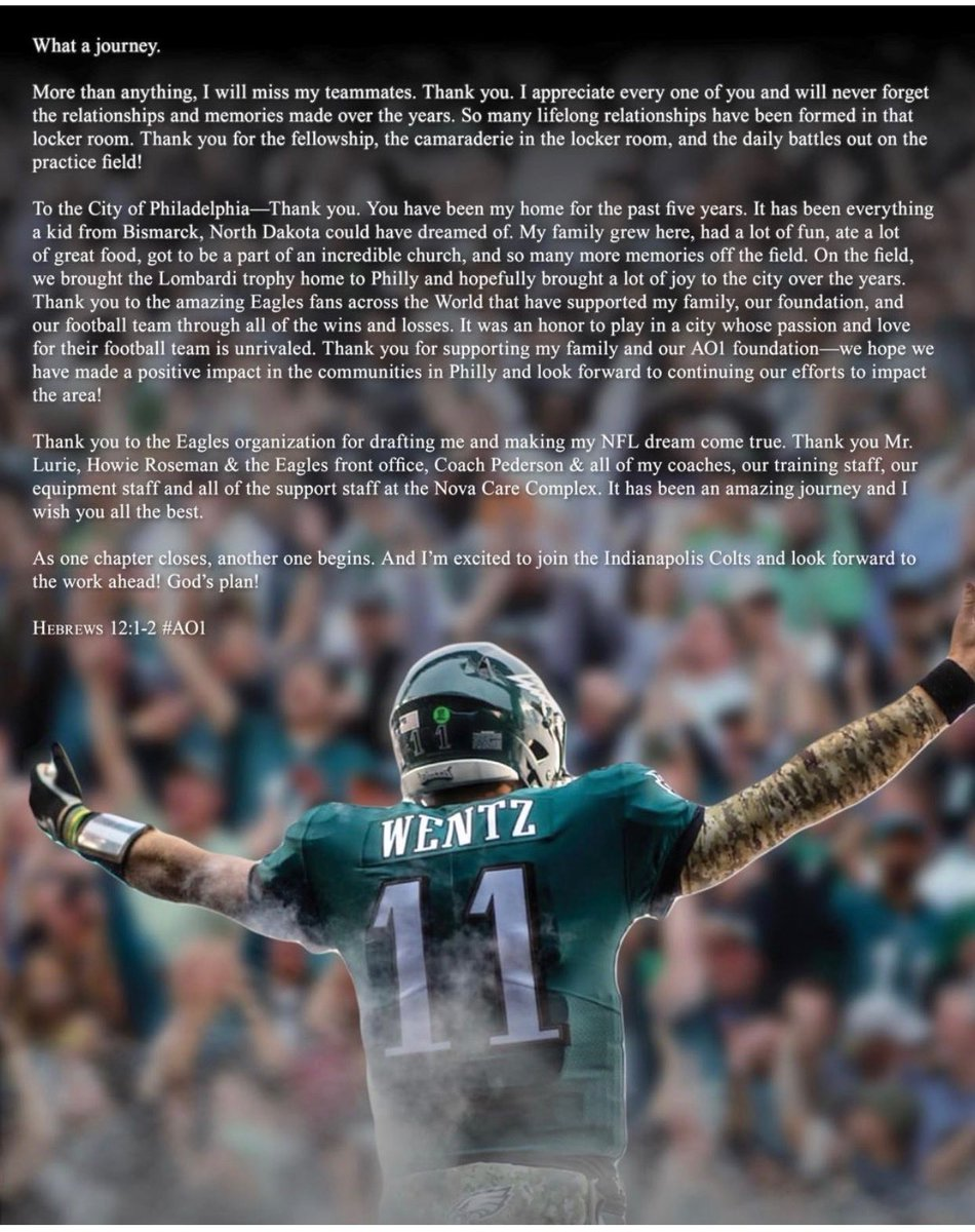 Carson Wentz posted his goodbye to teammates, the city of Philadelphia and the Eagles on his Instagram.