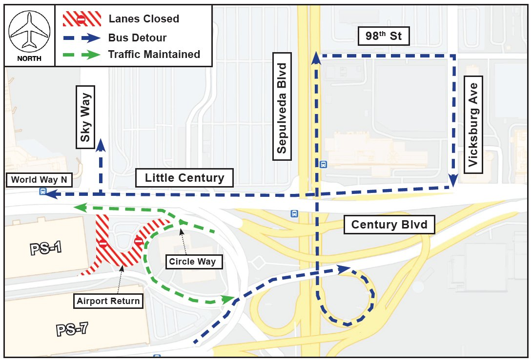 The Airport Return road east of Parking Structure 1 is scheduled to be closed continuously from 12:01 a.m. Saturday until 6 a.m. Wednesday for work on the Automated People Mover. A detour will be required for LAX-it and LAX Shuttle buses, adding 5-10 minutes to their trips.