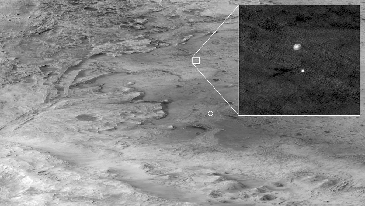 The @HiRISE camera aboard the Mars Reconnaissance Orbiter captured part of @NASAPersevere's landing. The circle indicates where the rover eventually touched down and the zoomed-in portion shows Perseverance's deployed parachute. go.nasa.gov/3dsoG1p #CountdownToMars