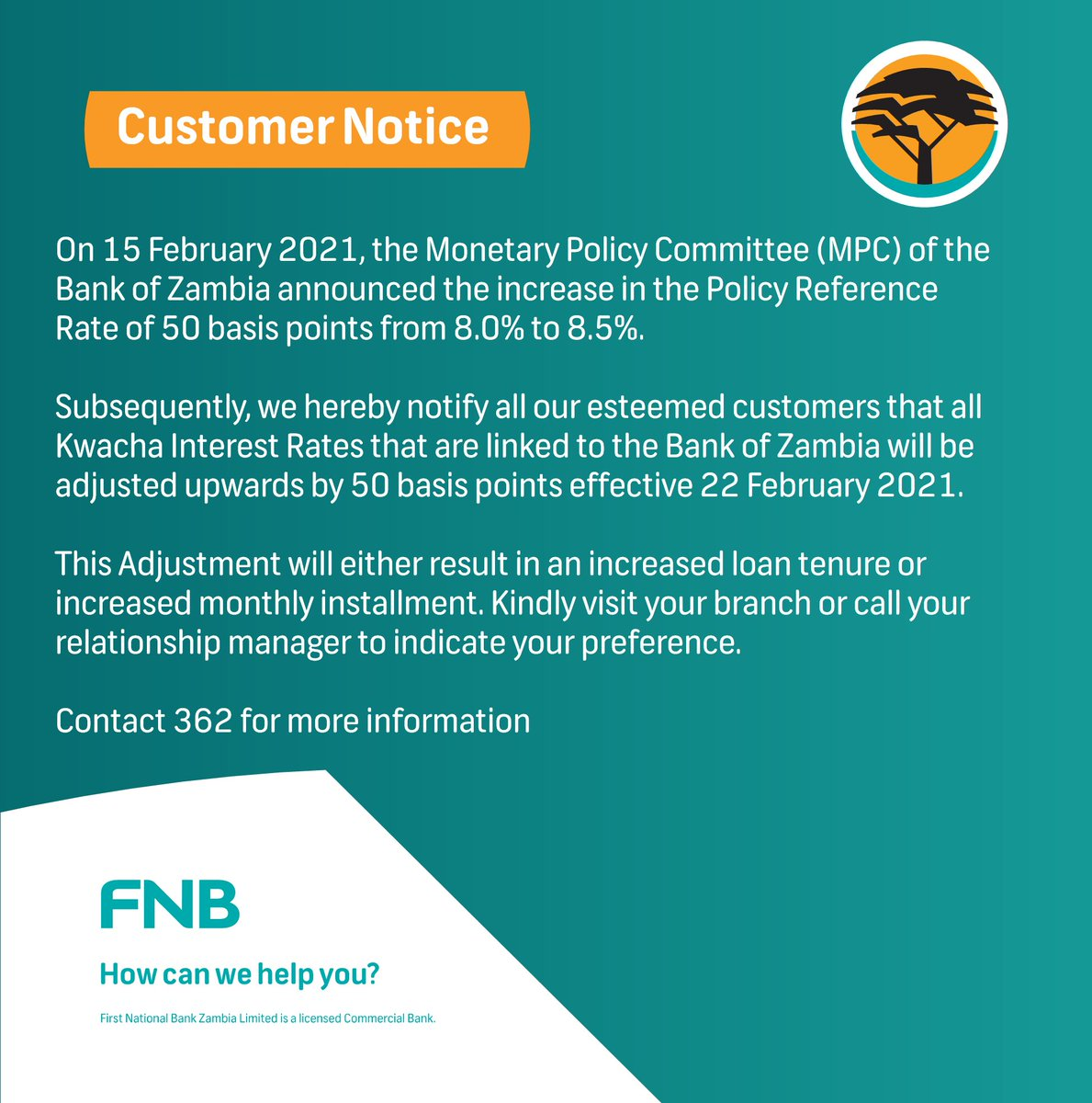 Please see below customer notice concerning the revision of MPC Rates by the Bank of Zambia https://t.co/fj79frMKeu