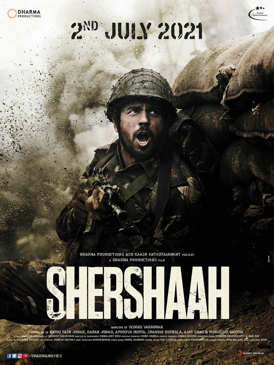 Bringing the true untold story of the brave Captain Vikram Batra (PVC) to the big screens! #Shershaah is releasing on 2nd July, 2021, starring Sidharth Malhotra & Kiara Advani and directed by Vishnu Varadhan. See you at the movies!