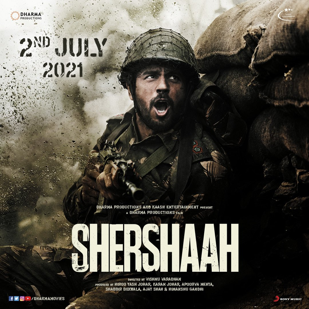 The larger than life untold true story of Captain Vikram Batra (PVC) is ready to be unravelled on the big screens. We're honoured to be showing this journey - #Shershaah in cinemas on 2nd July, 2021, starring Sidharth Malhotra & Kiara Advani. Directed by Vishnu Varadhan.