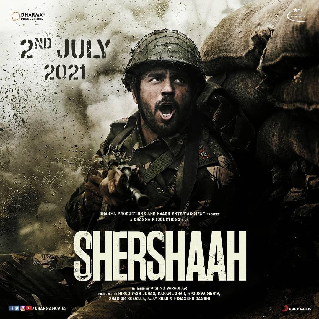 Release date announcement #Shershaah on July 2 . The 1st Hindi film of @vishnu_dir, larger than life untold true story of Captain Vikram Batra (PVC) is ready to be unravelled. @SidMalhotra & @advani_kiara  @karanjohar @DharmaMovies @apoorvamehta18