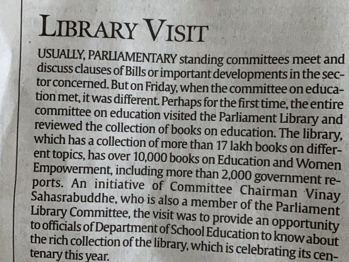 Parliament Library has more than 17 lakhs books. But how many of our MPs make use of them. @vinay1011 took a small step to make his committee members aware of it. In @IndianExpress