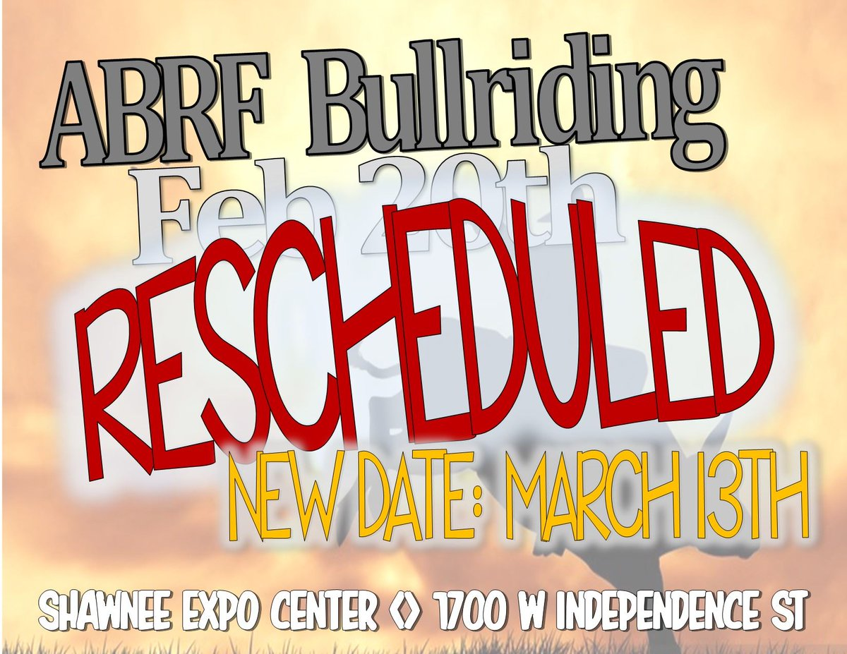 Bullriding scheduled for this weekend is rescheduled. Mark your calendar now for March 13. We're updating our events calendar as events are rescheduled. https://t.co/VuZLEECBNG Stay safe and hope to see you soon in #ShawneeOK. https://t.co/TDZLNOOn7d