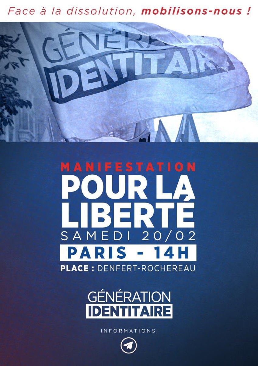 J'habite beaucoup trop loin pour pouvoir venir à la manifestation de soutien à  #GenerationIdentitaire mais je suis de tout cœur avec ceux qui pourront allez sur place 🇫🇷