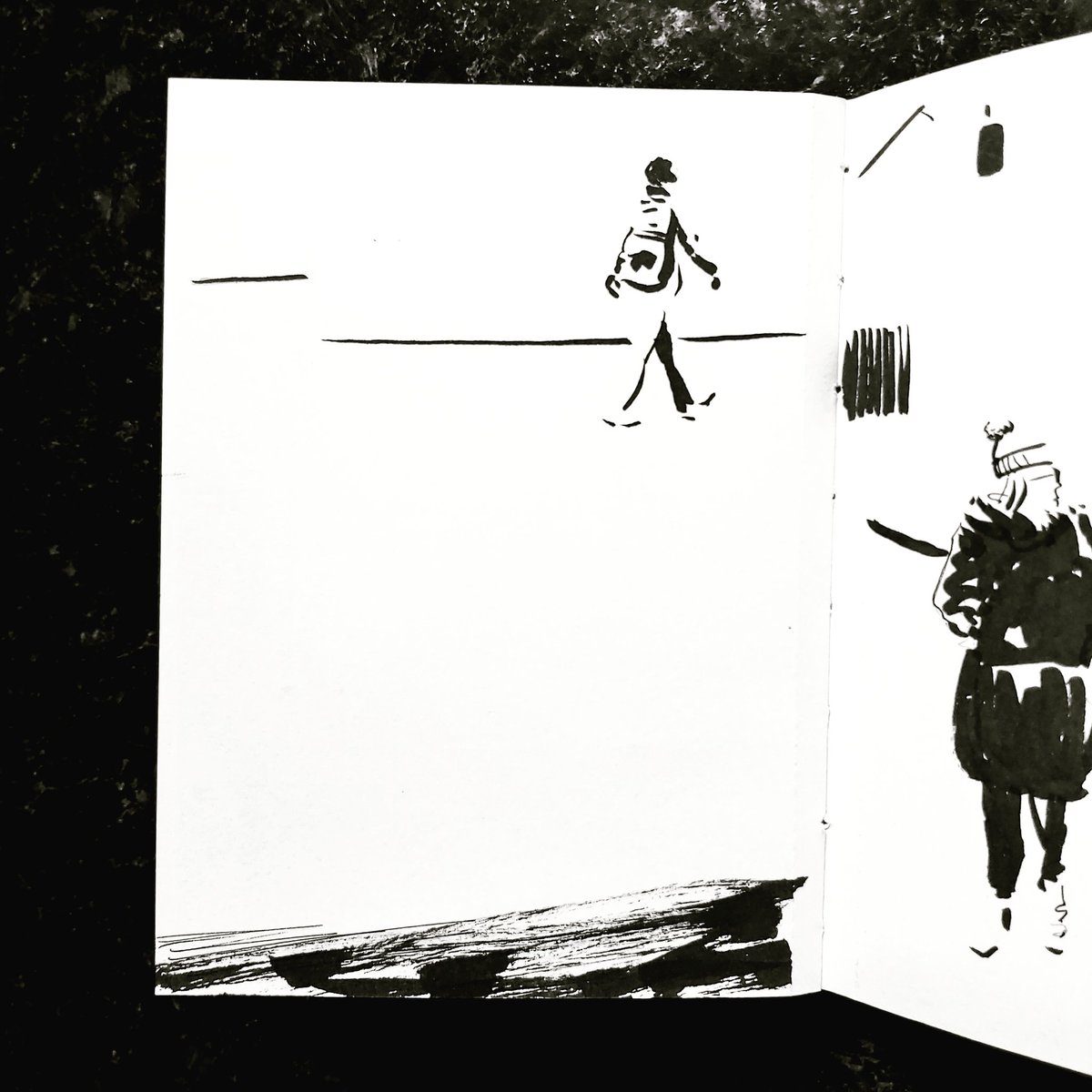 From the Inside 2 Day 108 (257 total) #isolation study Kitchen window Passerby No 147 #isolationlife #stayathome #lockdown #lockdown2uk #sketchbook #sketch #drawing #draw #doodle #ink #lineart #lifedrawing #figuredrawing #walk #artoftheday #art #artwork #artist #illustration