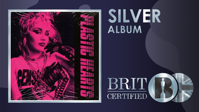 #MileyCyrus' #PlasticHearts album from 2020 is now #BRITcertified Silver for 60,000 units!👊🇬🇧💿👑💖