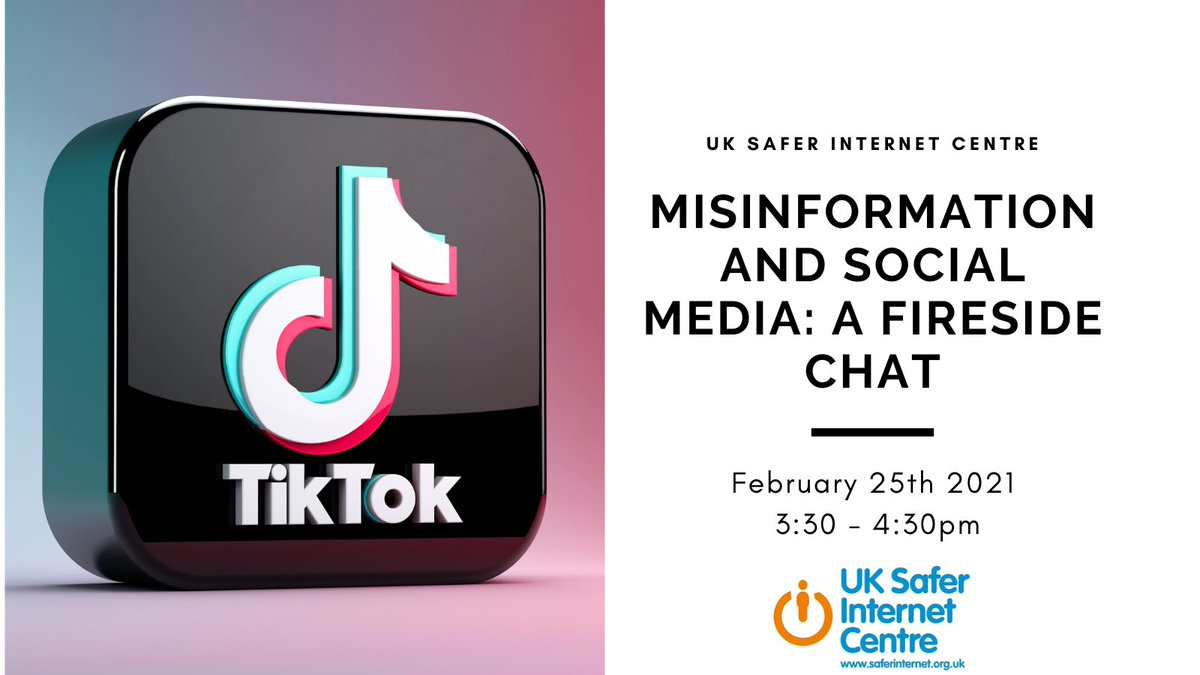 For Cyber Scotland Week there is a virtual event with @TikTok taking place on February 25th 3:30 – 4:30pm talking about the #SaferInternetDay theme of misinformation online. Book now for free @jess_mcbeath  #CSW2021