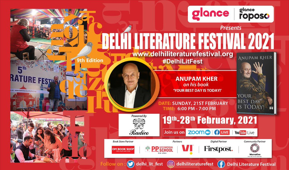 Looking forward to my session at the @delhi_lit_fest on 21st Feb at 6pm discussing my book #YourBestDayIsToday. Do join in. Here are the details! 🙏👇@HayHouseIndia @thegurukher