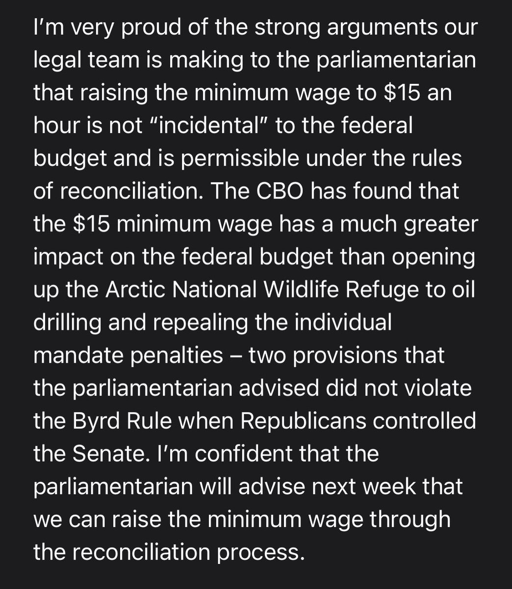 """NEW: After a week of negotiations w/ the Senate Parliamentarian- Sen. @BernieSanders tells CNN:  """"I'm confident that the parliamentarian will advise next week that we can raise the minimum wage through the reconciliation process."""" FULL STATEMENT:"""