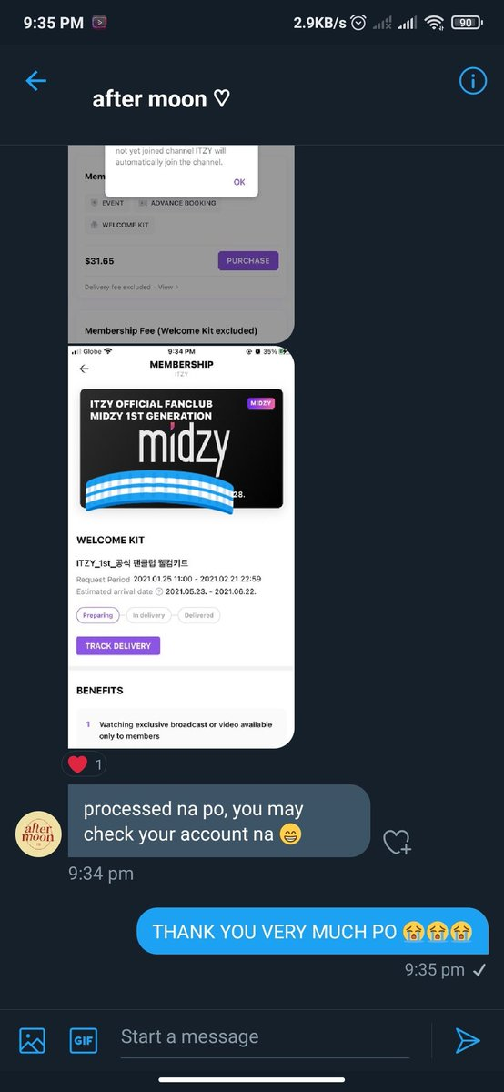 IT'Z OFFICIAL‼️ MIDZY FIRST GEN HERE WE GO😭 THANK YOU VERY MUCH @theaftermoonph FOR ASSISTANCE   #ITZY #itzy2ndyear #itzyworldwide
