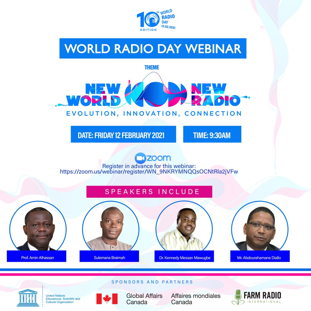 ICYMI: On 12th February, we successfully hosted a webinar in celebration of #WorldRadioDay 2021.  Once again, we appreciate the efforts of everyone who supported to make the webinar a success. That's why we have taken the time to acknowledge some key partners. 1/5 #WRD2021