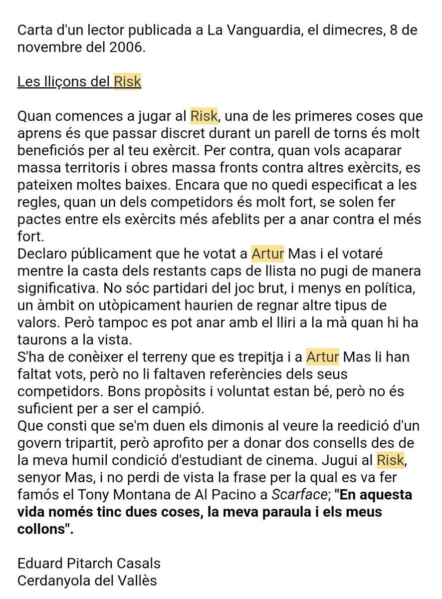 Jugar a el #risk és molt educatiu. L'any 2006 l'Eduard Pitarch Casals de Cerdanyola del Vallès va escriure una carta a la Vanguardia on s'explicaven les lliçons que se'n poden aprendre. #boardgames #eleccions #jocsdetaula