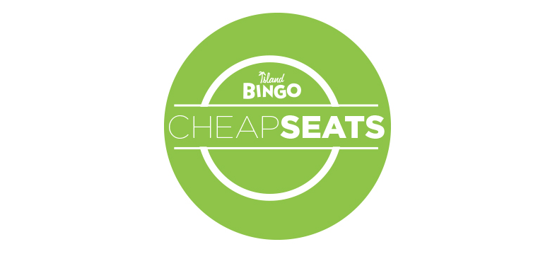Join us for your chance to win $300 on all regular games at Island Bingo when you purchase a pack for $18 during Cheap Seats, every Saturday matinee. Electronic packs are $2 more.