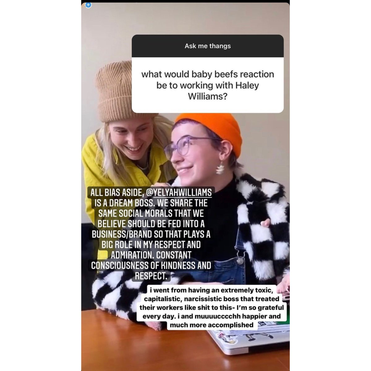 NEW PHOTO of #HayleyWilliams and the sweetest comment on her being the best boss possible ❤️ 📸 sweet.beef/IG