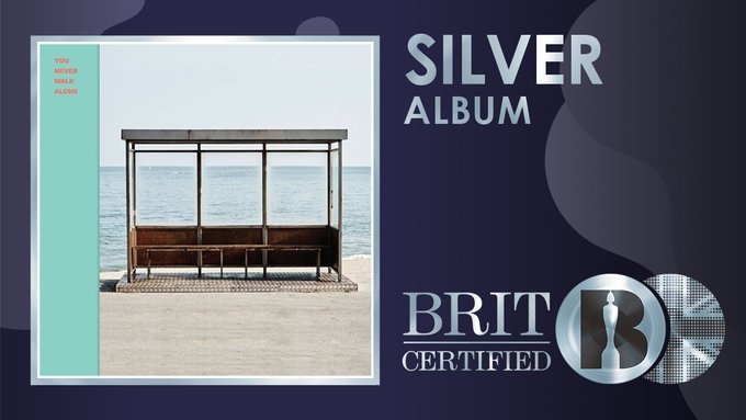 #BTS' album #YouNeverWalkAlone from  2017 has been #BRITcertified Silver for 60K units!👊🇬🇧💿👑👑👑👑👑👑👑💜