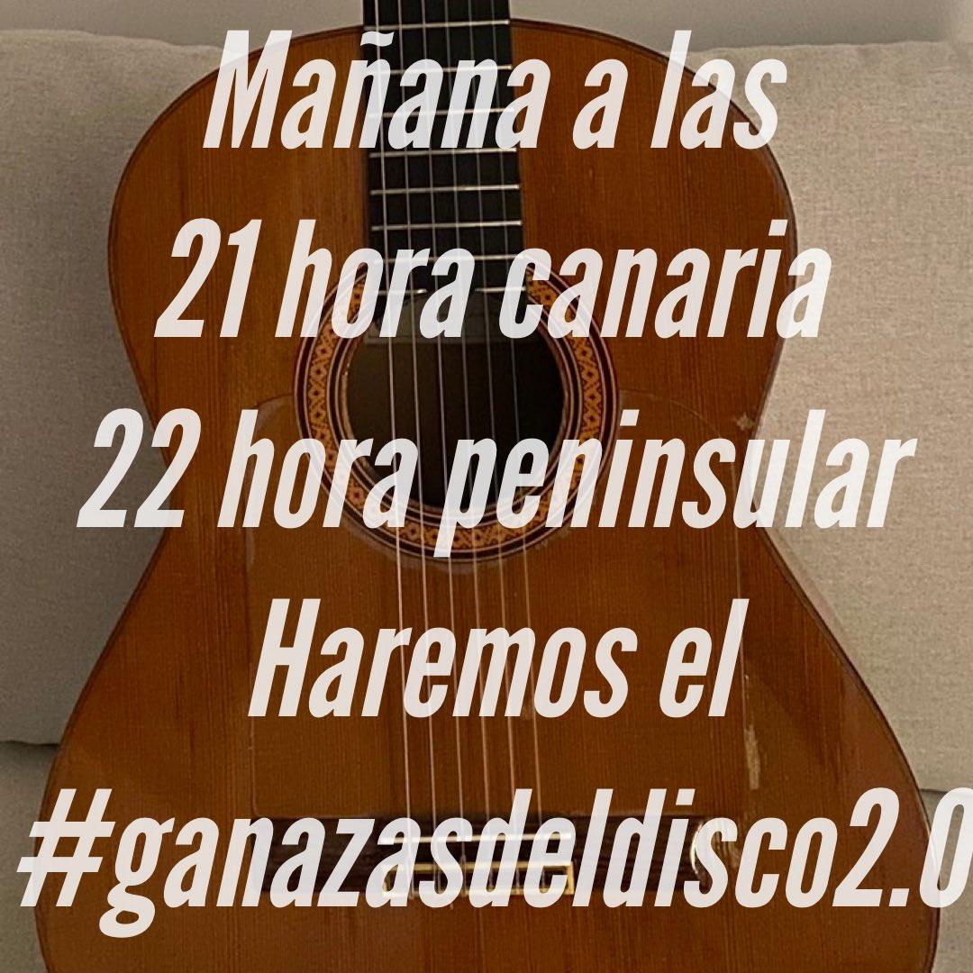 Mañana a las 21 hora canaria y 22 peninsular haremos el #ganazasdeldisco2.0  Donde mostraremos nuestras ganas de todo lo que está creando Alejandro