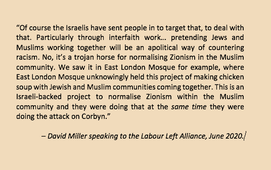 Reminder that 8 months ago David Miller of @BristolUni told Labour Left Alliance that Israel sent British Jews to make chicken soup in a London Mosque in a bid to normalise Zionism in the Muslim community.