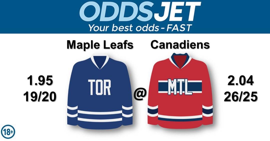 #NHL, #HockeyIsBack,   #MapleLeafs, #LeafsForever,#LeafsNation, #GoLeafsGo, #TMLtalk, #Leafs, vs. #MontrealCanadiens, #Canadiens, #GoHabsGo, Get your best odds - fast at