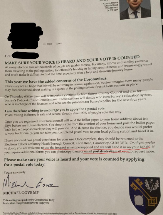 A letter from @michaelgove was delivered to many of his constituents today. It encourages them to fill out a Postal Vote registration form - and to return that form to the local Tory office, rather than to the official Council Election officer.   (1/2)